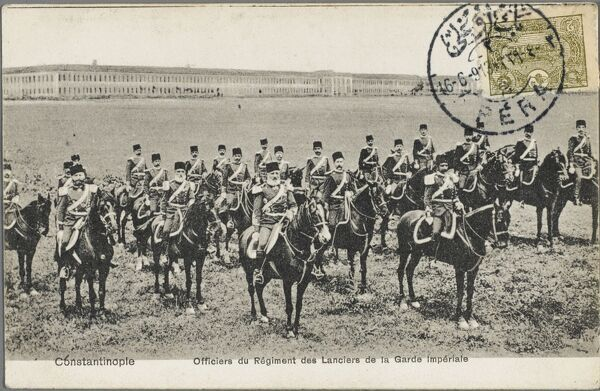 Officers of the Regiment of Lancers of the Imperial Guard, Constantinople, Turkey - pictures at the