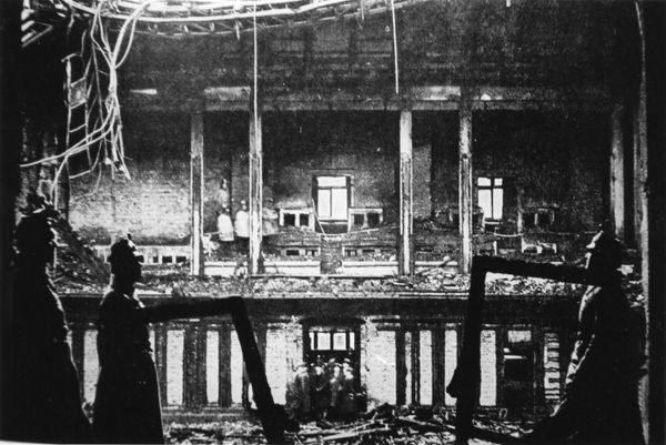 The aftermath of the dramatic controversial fire which gutted the Reichstag parliament building in Berlin