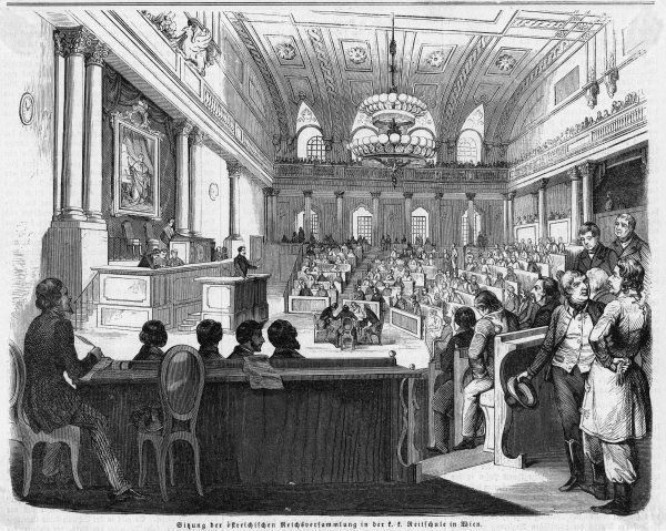 The first session of the new Reichsversammlung (National Assembly) at Vienna