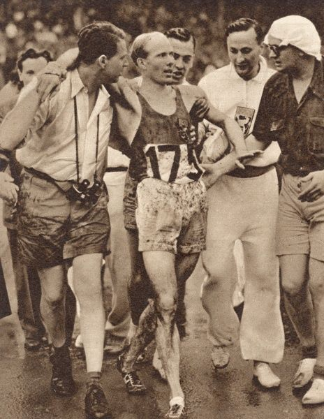 Belgian long-distance runner Reiff managed to snatch the lead from the Czech competitor Zatopek with three laps to go, to win the 5,000 metres at 1984 London Olympic Games. Date: 1948