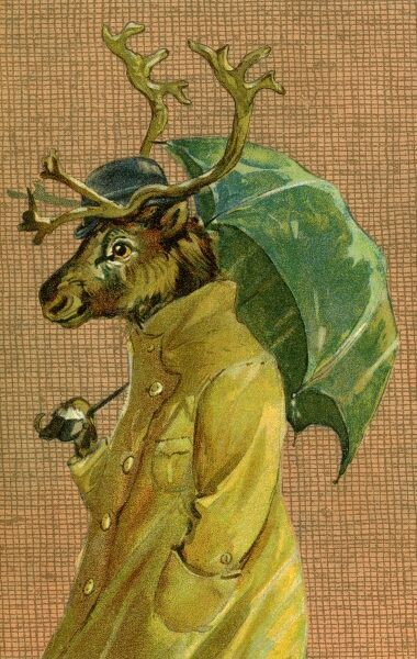 Reindeer with brolly by gh Thompson. George Henry Thompson (1859-1959) specialised in illustratinghumorous animals. He was also a landscape painter. This image in books and postcards by Ernest Nister. Date: circa 1904