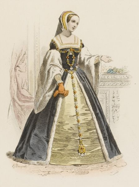 CLAUDE, first wife of Francois I : she gave her name to a species of greengage, to which she is pointing in this picture