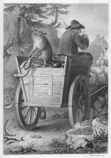 Reinecke steals fish from the fisherman's cart