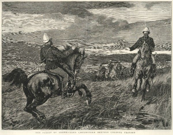Lord Chelmsford(1827-1905) riding out to meet Colonel E.K Pearson(1834-1909) about a mile from Fort Ekowe, with troops following