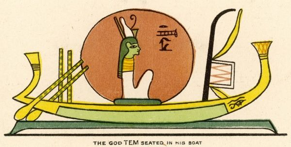 The Sun-God : the Creator of the Universe, depicted in his boat in which he crosses the sky on a daily basis (also known as Tem, Atmu &c)