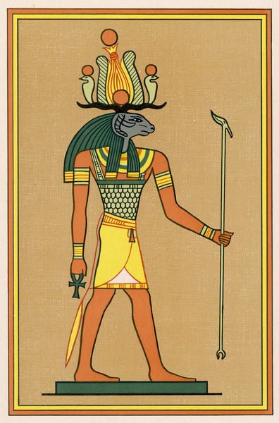 Ram-God of Middle Egypt, the Lord of Suten-Henen : he is the Egyptian equivalent of the Greek Herakles (Budge names him Heru-Shefit)