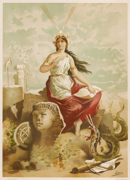 depicted as patroness of the arts and sciences, including those of magic