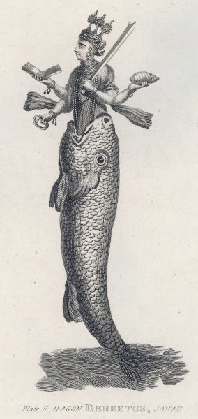 The Hindu god Vishnu in his first incarnation/avatar, shown here appearing out of a fish