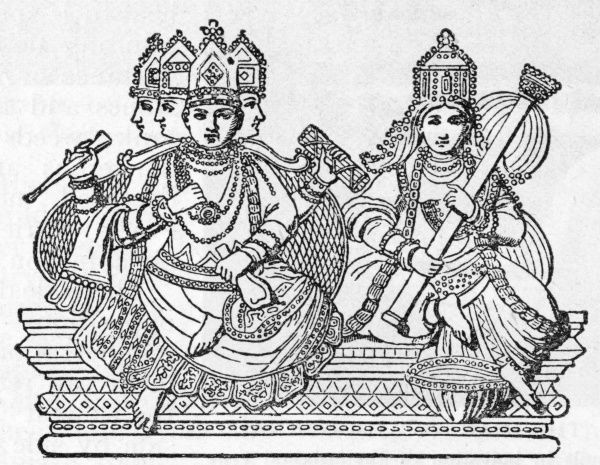 Brahma with his consort Saraswat. She is the goddess of learning. Date