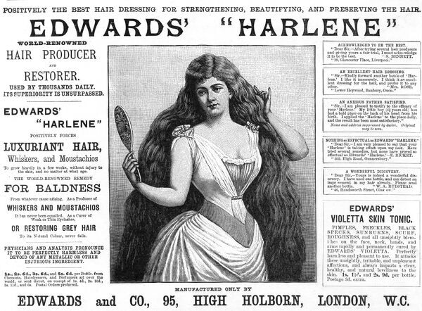 "A lady admires her reflection in a hand mirror. Her luxuriant hair is thanks to Edward's Harlene for hair: ""positively the best hair dressing for strengthening, beautifying and preserving the hair."" Date: 1892"