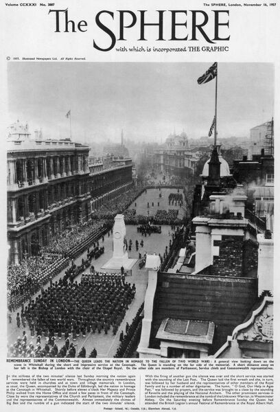 A general view looking down on the scene in Whitehall during the rememberance service at the Cenotaph