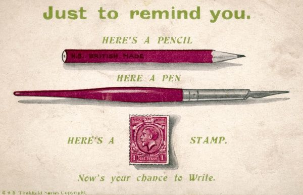 Here's a pencil... here's a pen... here's a stamp... now's your chance to write