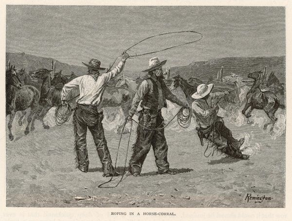 Cowboys roping with lassos in a horse-corral