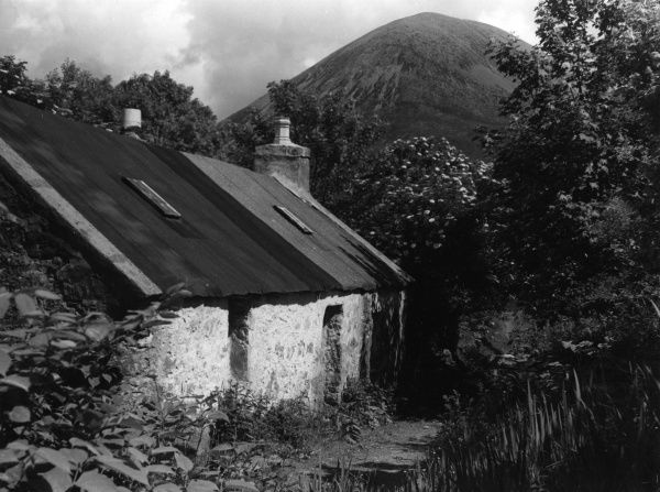A derelict old cottage, a homestead at Torrin, on the Isle of Skye, Inverness-shire, Scotland. Beyond the tangled garden can be seen the rounded hump of the Red Hills. Date: 19th century