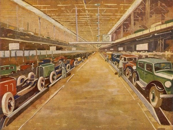 Interior of a Renault factory showing the assembly lines