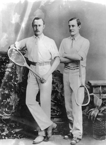 Champion tennis playing twins ERNEST (left, 1861 - 1899) and WILLIAM RENSHAW (1861 - 1904). William won Wimbledon 1881 - 1886 & 1889, Ernest in 1888. They won many doubles matches. Date: circa 1880