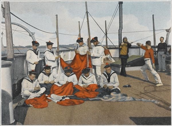 Flags deteriorate either from the weather or by hostile gunfire: French sailors with the necessary skills make repairs to their flags