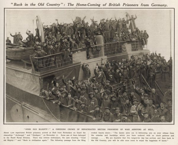 A cheering crowd of repatriated British prisoners of war returning to England at the end of WWI on the steamships Archangel and Stockport at Hull