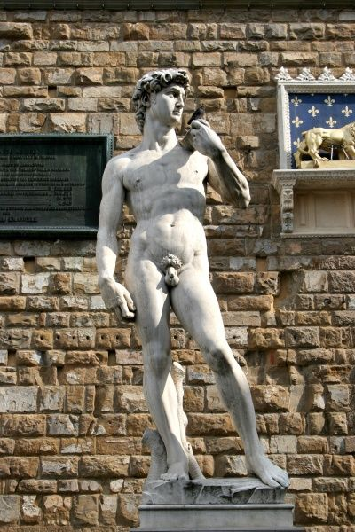 Replica of Michaelangelo's statue of David in the Piazza della Signoria, Florence, Italy