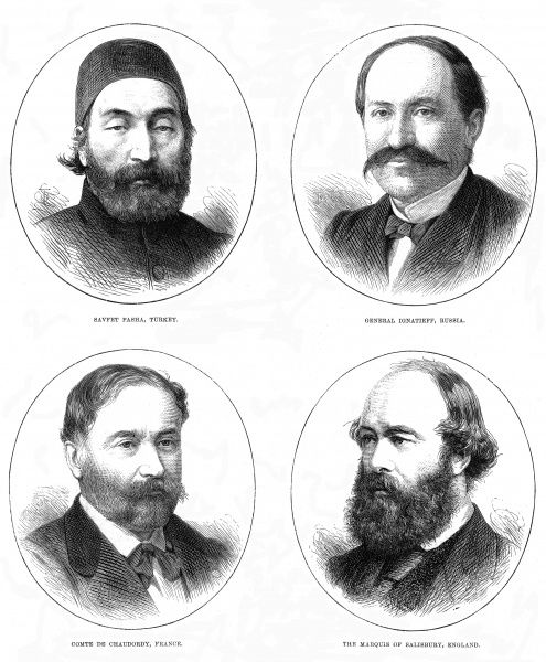 Engraving showing the four main representatives at the Conference of Constantinople, 1876 (clockwise from top left): Savfet Pasha, Turkish Minister of Foreign Affairs; General Ignatieff, Russian Ambassador at Constantinople; Marquis of Salisbury