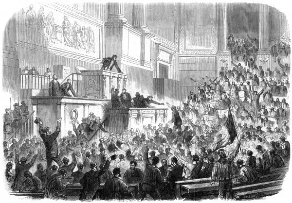 'Red Republicans' invade the sessions where the Corps Legislatif in the Hotel de Ville, Paris, is inaugurating the Third Republic, protesting against conservative policies. Date: 4 September 1870
