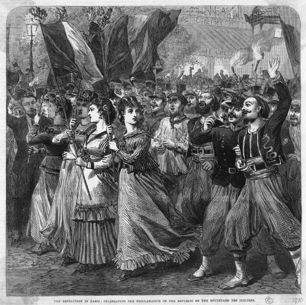 After France's defeat by Prussia, Napoleon is forced to abdicate and a republic is formed: a triumphant procession in the boulevard des Italiens. Date: 1870