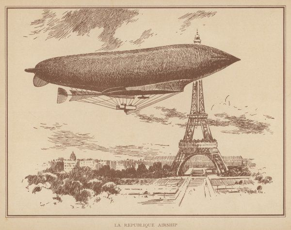 Lebaudy's 'Republique' flies low past the Tour Eiffel, Paris