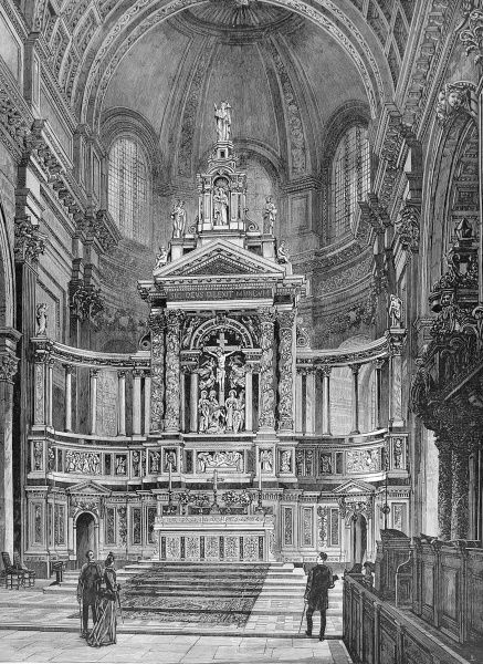Engraving showing the then newly installed Reredos of St. Paul's Cathedral, London, 1888