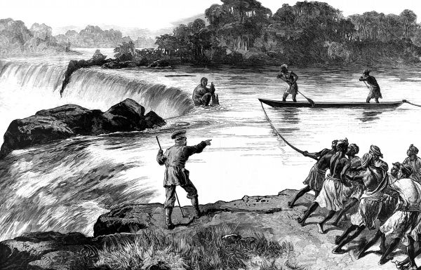 Engraving showing the rescue of Zaidi from the top of a waterfall during Sir Henry Morton Stanley's Anglo-American expedition of 1874-1877. Zaidi (centre, crouching) had taken a canoe too close to the waterfall and was stuck in a very perilous position