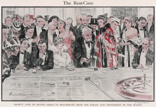 Society goes to Monte Carlo to recuperate from the strain and excitement of the season. A colour illustration showing a busy roulette wheel table