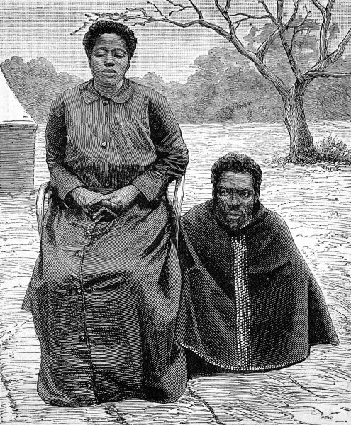 One of Cetshwayo's wives with her male attendant. The only royal zulu woman to be photographed, this was possibly Msweli, mother of Dinuzulu