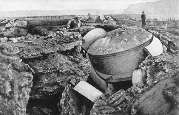 Results of German heavy artillery at Maubeuge, Belgium, during the First World War, showing a damaged gun dome. Date: September 1914