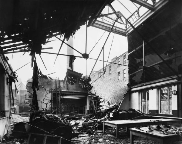 Result of a Gotha air raid on a workhouse laundry in St. John's Road, Islington, London during the First World War on 4th-5th September 1917