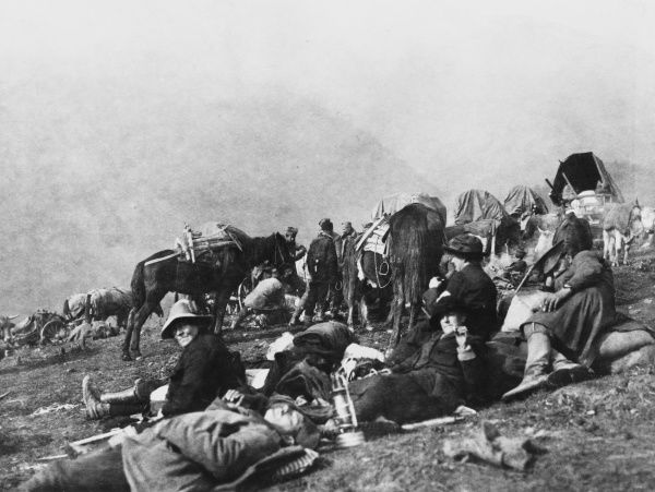 A medical team, led by Mrs St Clair Stobart (Mabel Ann Stobart Greenhalgh) rest during the retreat through the Albanian mountains by Serbian forces in the face of the Bulgarian advance