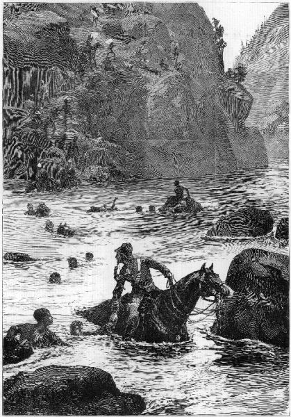 The Zulu War: the retreat of British forces from their defeat at Isandlwana across the Buffalo River; soldiers cross with horses, other men swim