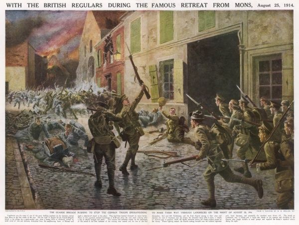 With the British regulars during the famous retreat from Mons in the opening weeks of World War I. In the narrow streets of Landrecies, soldiers of the Grenadier, Coldstream and Irish Guards successfully repel a German attack