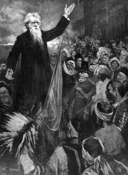 Illustration showing the Reverend William Booth (1829-1912), founder of the Salvation Army, pictured at an imaginary gathering of a huge multi-national crowd