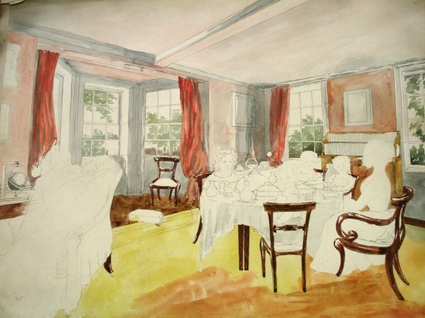 Reverend Baden-Powell's dining room, Oxford. Date: circa 1840s