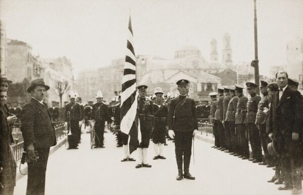 Constantinople - Japanese troops being reviewed by Ataturk