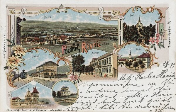 Greetings postcard from Revnice, a small town south west of Prague in the Czech Republic, in the Central Bohemian Region. It was here that tennis player Martina Navratilova grew up!