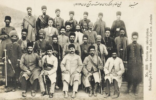 Young Turk Revolution. Men/chiefs/army from Taurus (Eastern Turkey) pictured the during revolution with their leader Schoud ja-i-Nizam