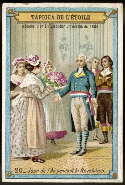 REVOLUTIONARY FRANCE During the Revolution, the start of the Revolutionary Calendar is celebrated with flowers offered by Parisiennes to government officers