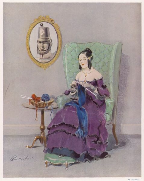 Victorian girl knitting a garment for her boyfriend or husband who is away fighting, possibly in the Crimea?