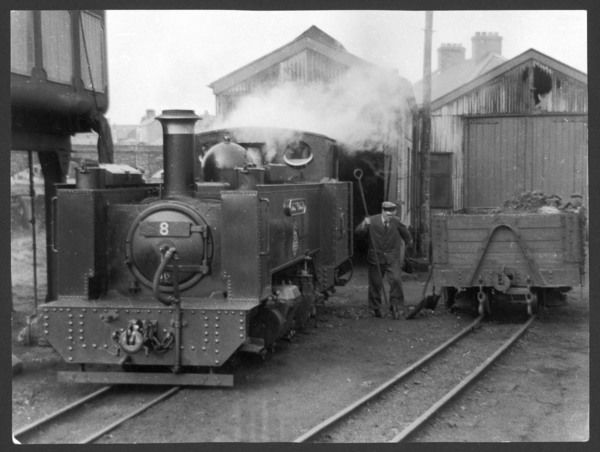 The Vale of Rheidol Railway, Aberystwyth, Wales, opened in 1902 to serve the local lead mines. Here is one of the engine sheds at Aberystwyth. The line was privatised 1989