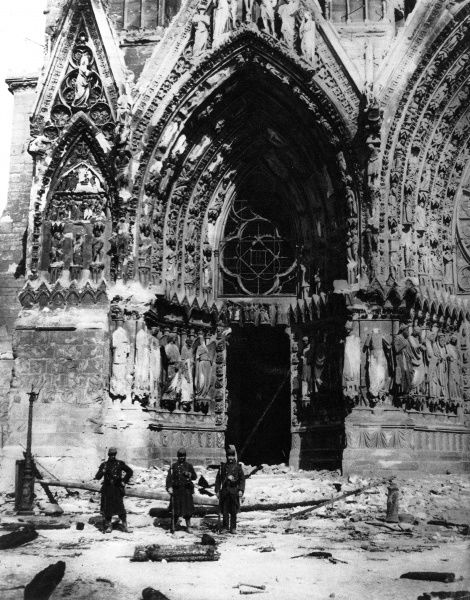 Photograph showing the destruction of Rheims Cathedral following a German bombardment in September 1914