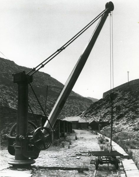 View of Rhiwbryfdir Slate Quarry, near Blaenau Ffestiniog, Caernarvonshire (now Gwynedd), North Wales, showing the slate store, a crane, and the narrow gauge tramway which transported the slate during processing