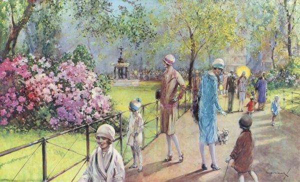 Illustration showing Hyde Park in spring, with adults and children promenading along the walkways admiring the rhododendron blooms, 1926. The original title for this image was 'Now nature hangs her mantle green on every blooming tree&#39