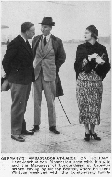 Joachim von Ribbentrop with his wife and the Marquess of Londonderry at Croydon Airport before their departure for Belfast, where the Ribbentrops spent the Whitsun weekend with the Londonderry family
