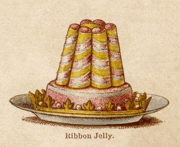 Ribbon jelly on a plate