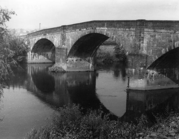 The fine old bridge which spans the River Ribble at the former Roman fort of Ribchester, Lancashire, England. Date: 17th century